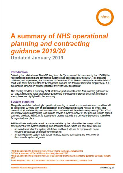 A summary of NHS operational planning and contracting guidance 2019/20
