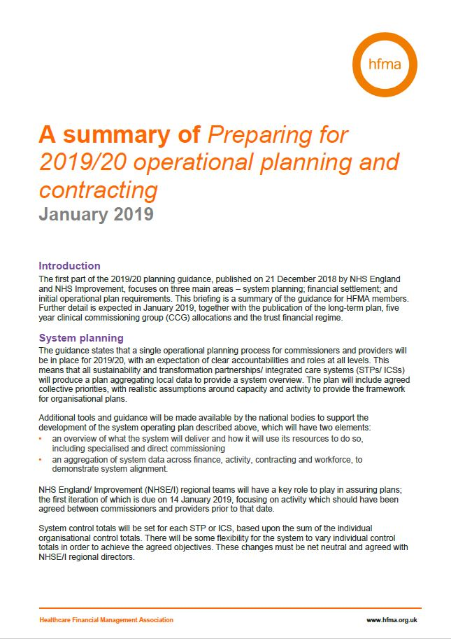 A summary of Preparing for 2019/20 operational planning and contracting