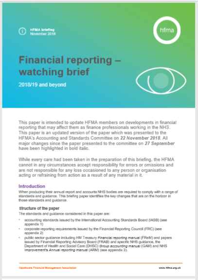 Financial reporting watching brief 2018/19 and beyond