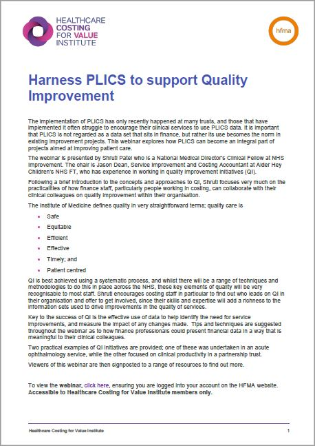 Harness PLICS to support Quality Improvement