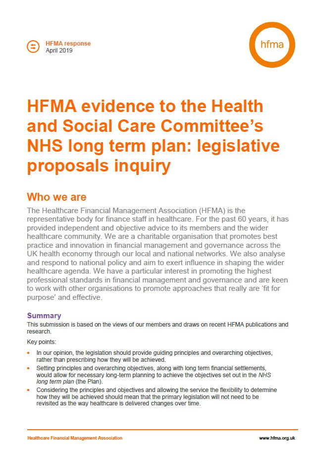 Evidence to Health & Social Care Committee's inquiry: NHS legislative proposals