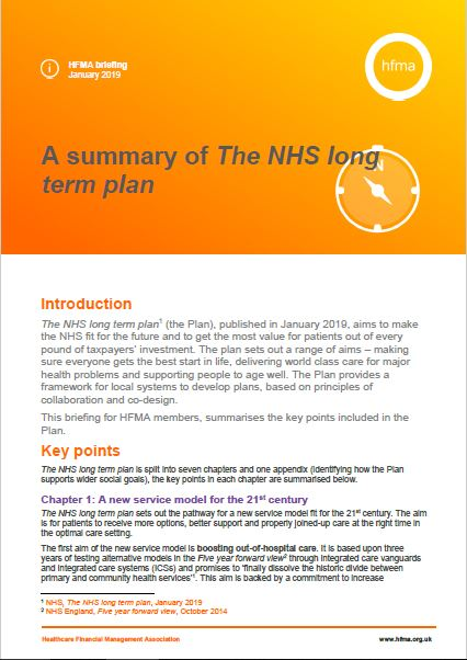 A summary of The NHS long term plan