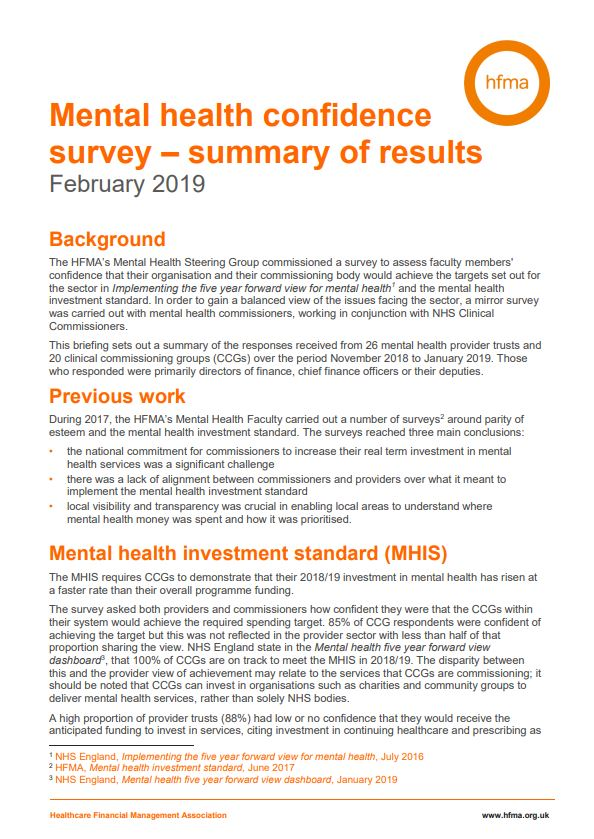 Mental health confidence survey – summary of results