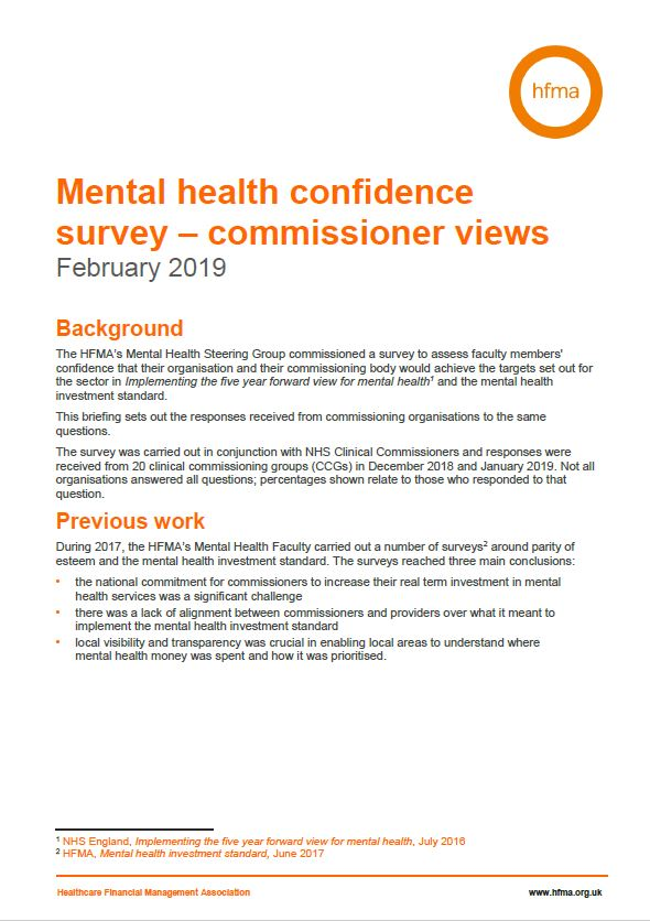 Mental health confidence survey – detailed commissioner results