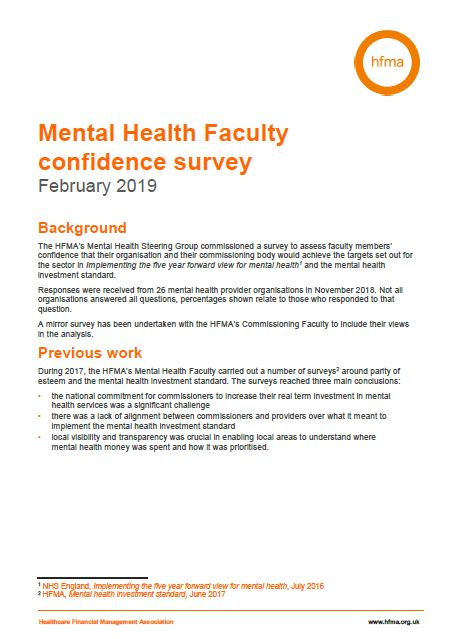 Mental health confidence survey – detailed provider results