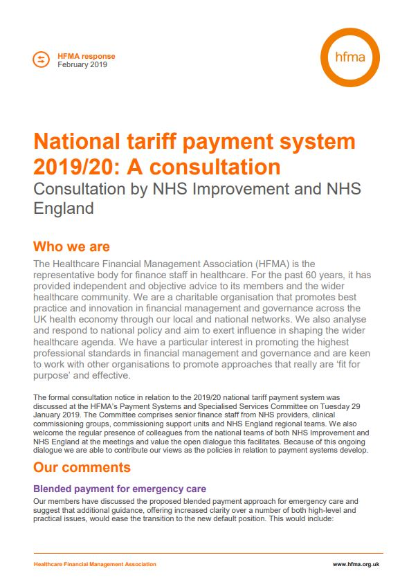 The HFMA's response to NHS Improvement and NHS England consultation on national tariff payment system 2019/20